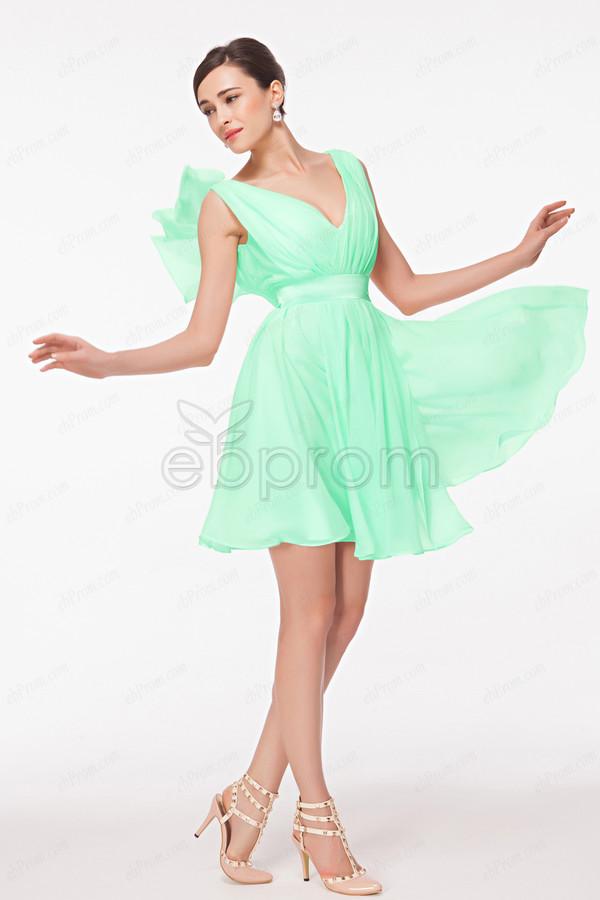 Dress short prom dress mint dress bridesmaid knee for Mint wedding guest dress