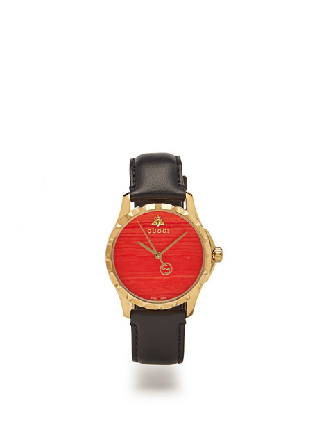 gucci leather watch watch leather red jewels