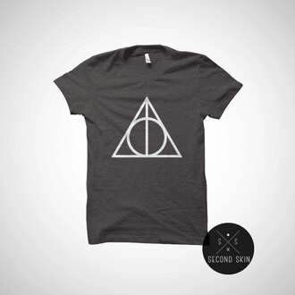 t-shirt harry potter harry potter tshirt deathly hallow accessories harry potter and the deathly hallows movie shirt teenagers shirt top harry potter always sweatshirt tumblr shirt tumblr triangle geometric grey t-shirt trendy