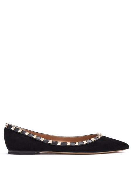 Valentino flats suede black shoes