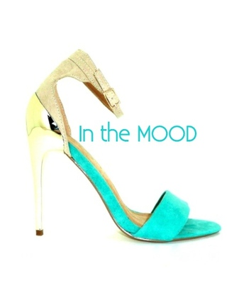 shoes high heels aqua gold metallic