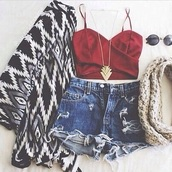 cardigan,kimono,cute,fashion,style,crop tops,High waisted shorts,crop tops high waisted shorts,burgundy,red,red top,top,sweetheart neckline,spagettistraps,necklace,jewelry,jewels,aztec print coat,aztec,african print,native american,gorgeous,beautiful,slut not sexy,scarf,infinity scarf,boho shirt,boho,boho chic,glasses,sunglasses,round sunglasses,triangle,geometric,shorts,jacket