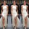 Hot pure color fork long show body dress