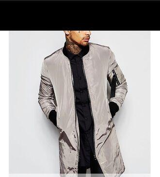 jacket long bomber jacket bomber jacket shiny metallic grey silver