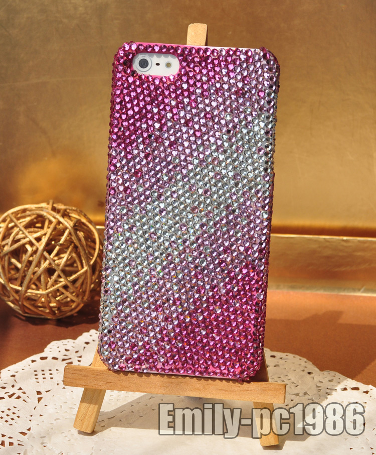 Bling Bling Handmade Swarovski Element Crystal Cover Case for iPhone 5 Tri Pink | eBay