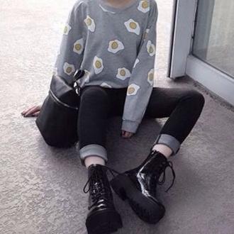 shirt top tumblr soft grunge pale grunge grunge grey grey and white black black and white egg yellow white