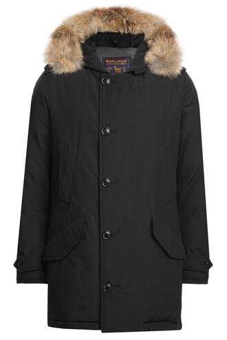 parka fur black coat