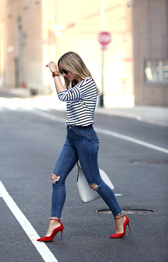 top tumblr stripes striped top jeans denim skinny jeans pumps pointed toe pumps high heel pumps shoes