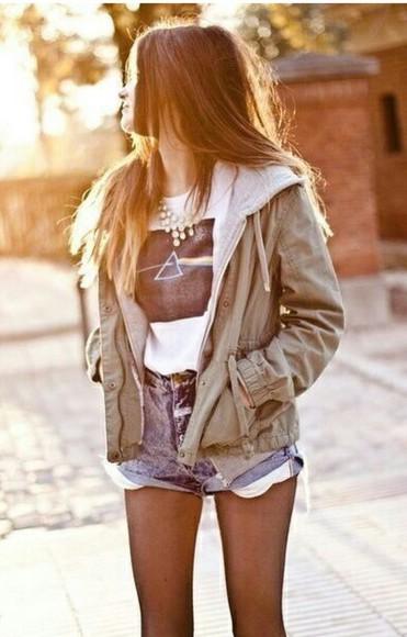 denim shorts top jacket coat