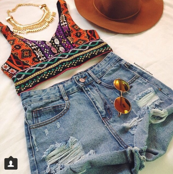 jewels necklace hat sunglasses tribal pattern tribal crop too crop tops shorts top