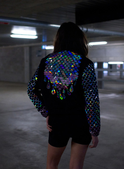 jacket tumblr rainbow scales black sparkles