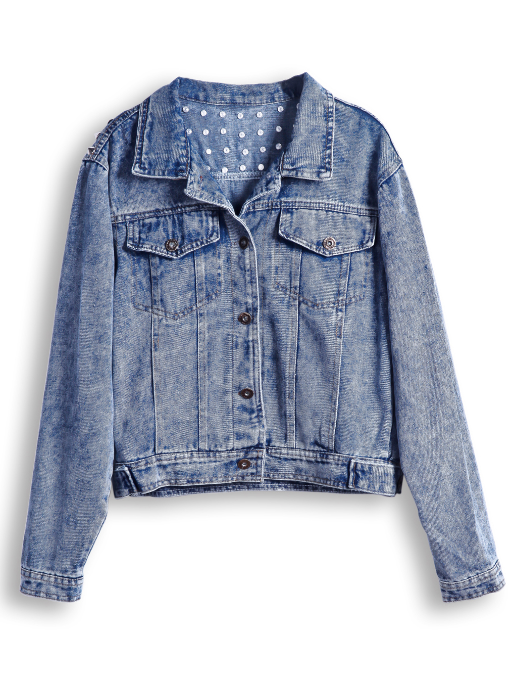 Blue Lapel Long Sleeve Rivet Crop Denim Jacket - Sheinside.com
