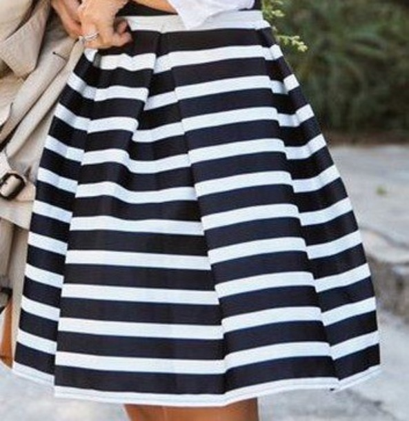skirt black and white strips