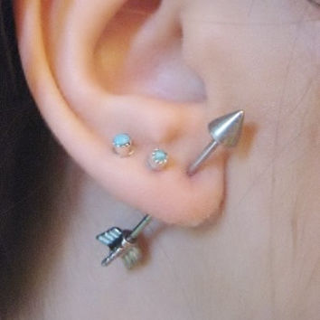 One 16 Gauge Arrow Earring Ear Jewelry Piercing 3D Fake Arrowhead Head Cartilage 1 Inch Bar Barbell on Wanelo