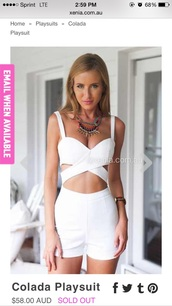 jumpsuit,xeniaboutique,white romper,romper,cut-out,summer,white,summer party,statement necklace,sexy,cut out romper,sleeveless,sleeveless romper,girl,girly,girly wishlist,instagram