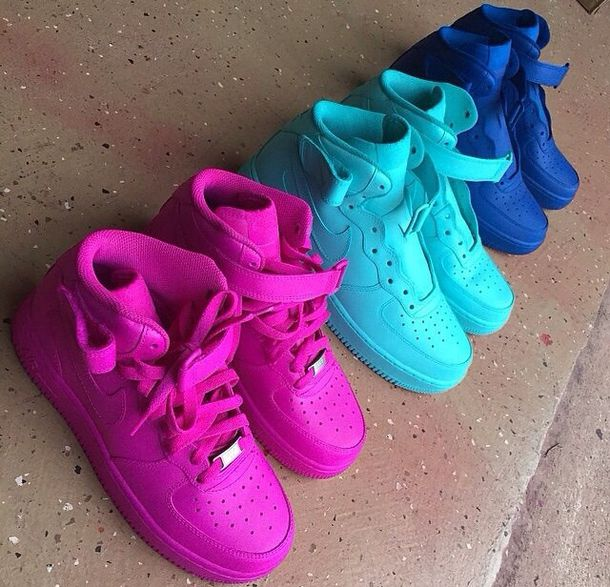 shoes baby blue nike air force high top sneakers