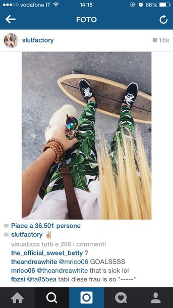 pants green pants green leaves pants leaves leaves sneakers skateboard longboard purse
