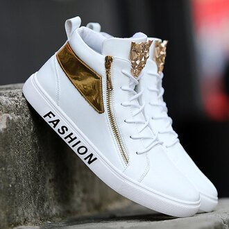 shoes gold sneakers white sneakers high top sneakers