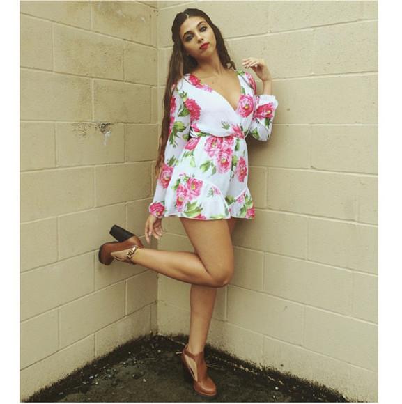 high heels romper floral vellea