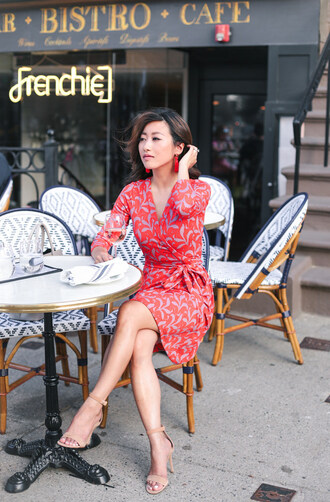extra petite blogger dress jewels shoes wrap dress red dress sandals high heel sandals
