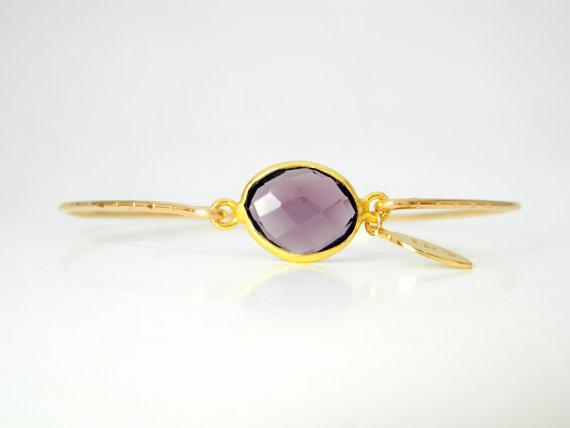 Purple Amethyst Gold Bangle Bracelet Radiant by camilaestrella