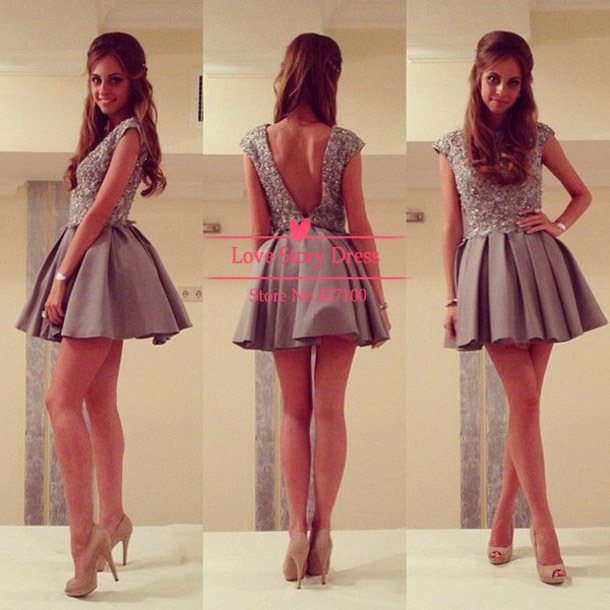 Aliexpress.com : buy hot&sexy 2014 back to school supplies pretty open back a line beading gray short prom dresses homecoming dresses for girls from reliable dress up a black dress suppliers on suzhou lovestorydress co. , ltd
