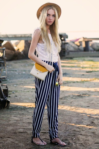 summer outfits top stripes daryaya sunglasses shoes bag straw hat zara asos steve madden sandals beach striped pants