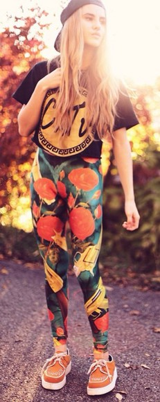 guns and roses t-shirt pants printed leggings leggings floral