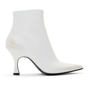 pointed toe boots,white,shoes
