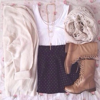 skirt cardigan sweater style fashion top white top boots scarf jewels dress shoes