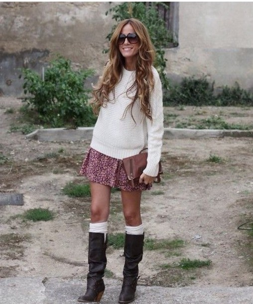 suite blanco black slouch boots skirt shoes knee high socks