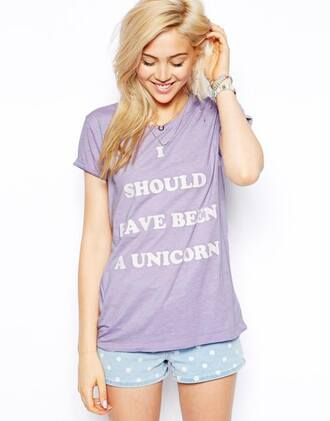 t-shirt violet cute shorts unicorn blonde hair