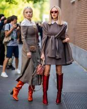 dress,mini dress,wool,checkered,thigh high boots,handbag,midi dress,sunglasses