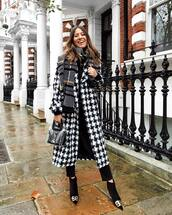 coat,long coat,plaid,black and white,black boots,ankle boots,heel boots,pvc,bag,black velvet pants,black top,long sleeves,knitted scarf