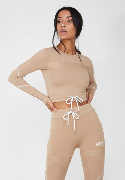 Tie-Front Long-Sleeved Crop Top - Beige