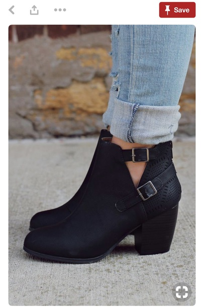 shoes black ankle booties