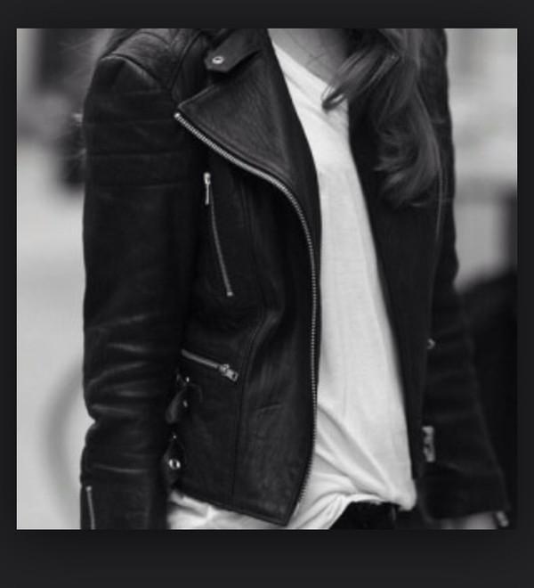 jacket silver zipper leather jacket black color