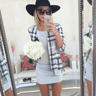 grey dress classy blazer sunglasses