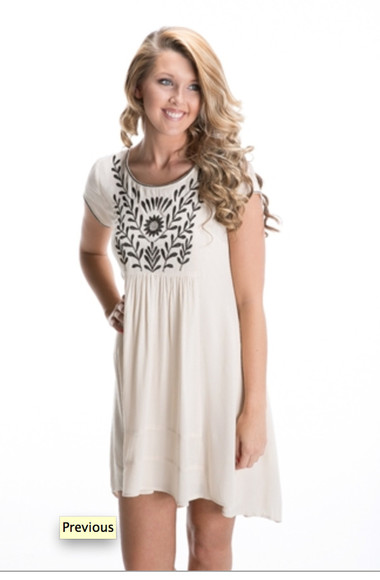 dress cream dress embroidered simple
