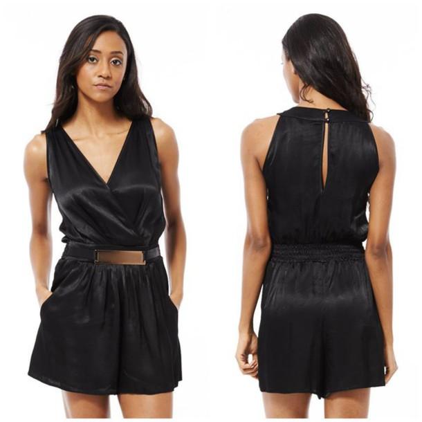 jumpsuit black black playsuit silk gold buckles