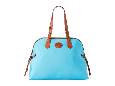 Dooney & Bourke Nylon Large Domed Satchel Sky Blue w/ Tan Trim - Zappos.com Free Shipping BOTH Ways