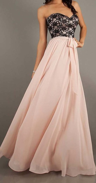 dress pink black lace bow long prom dress sleveless