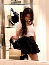 skirt,blouse,kim kardashian,beautiful,puff sleeves