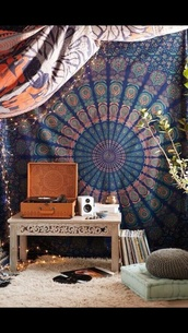 home accessory,brown,vinyl player,record player,home decor,music,tapestry,mandala,boho