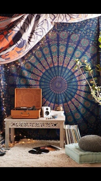home accessory brown vinyl player record player home decor music tapestry mandala boho