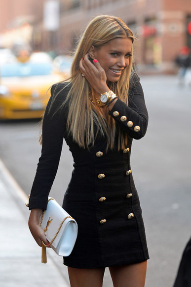 jewels bag gold buttons coat cute big buttons fitted coat shoulder pads longg dress black jacket black jacket