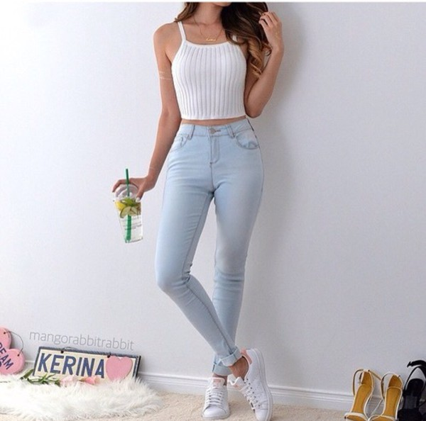 Jeans shirt top fashion tank top cute tumblr style for How to get foundation out of a white shirt