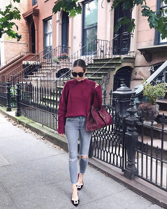 sweater tumblr knit knitted sweater burgundy burgundy sweater denim jeans grey jeans ripped jeans skinny jeans shoes sunglasses bag