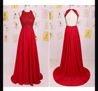 dress prom dress red dress red prom dress backless dress diamantes long dress