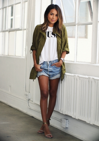 sincerely jules blogger t-shirt jacket khaki denim shorts sandals blouse fashion style outfit girl shirts shirt shorts spring outfits army green shacket